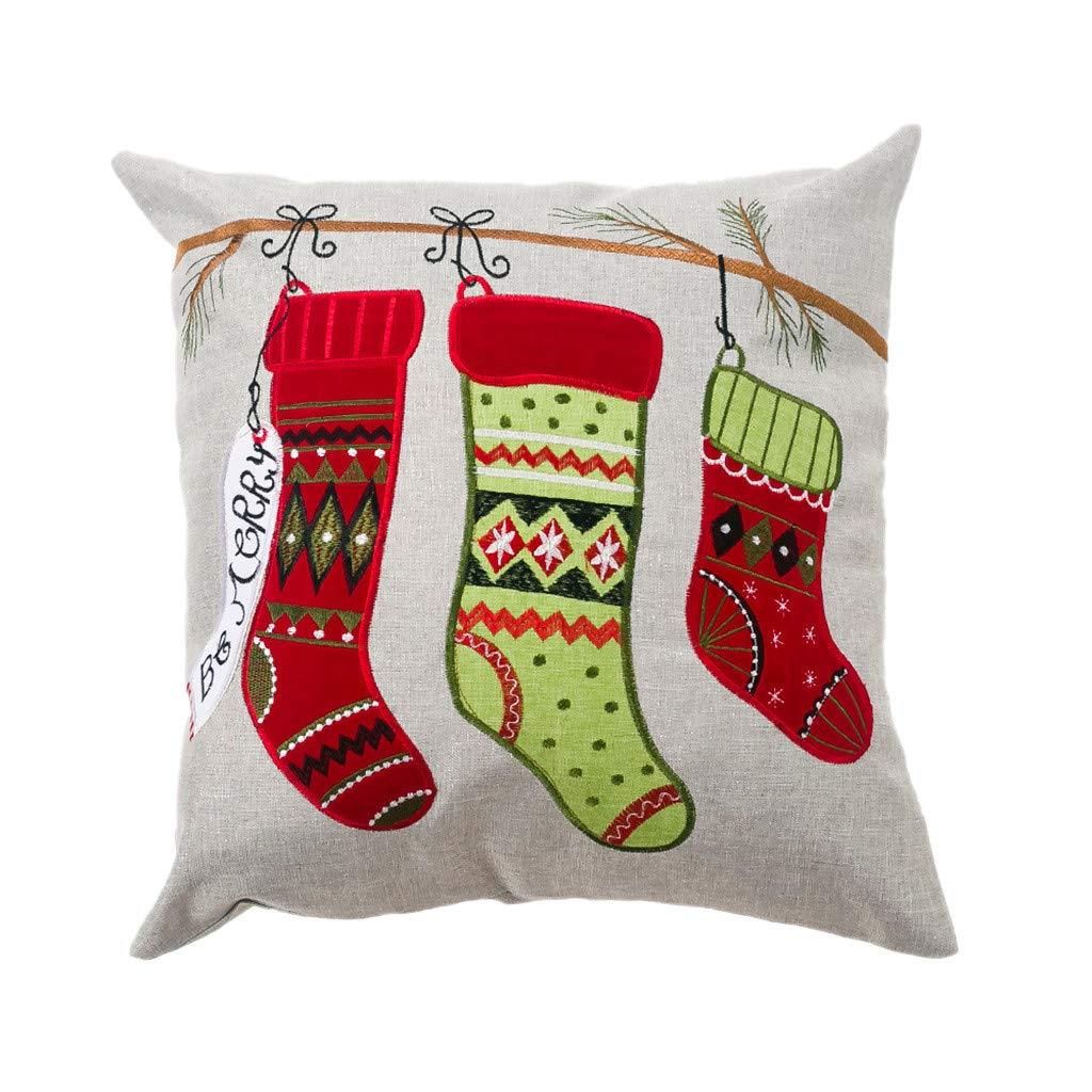 Flexman - Merry Christmas Pattern Pillow Covers, 45 x 45cm Snowman Pattern Cotton Linen Square Xmas Decorative Throw Pillow Cover Cushion Case Pillowcase for Office/Car/Bed/Home by Flexman_Pillow Covers