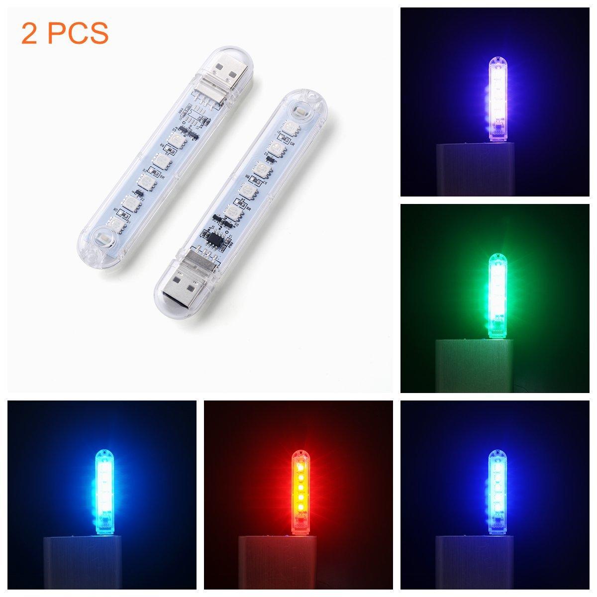 Ebyphan Portable Night Light Kids, Mini USB Led Lights, Modern Smart Novelty Lamps, Touch Switch Colorful RBG Bulbs, 9 Color Modes Adjustable, 2PCS