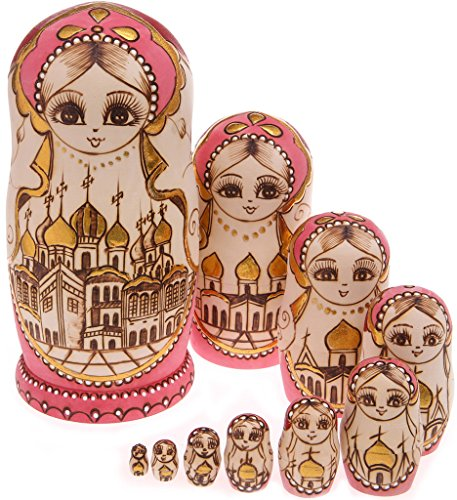 Moonmo 10pcs Beautiful Handmade Wooden Russia Nesting Dolls Gift Russian Nesting Wishing Dolls Palace Taj Mahal Home Matryoshka Traditional
