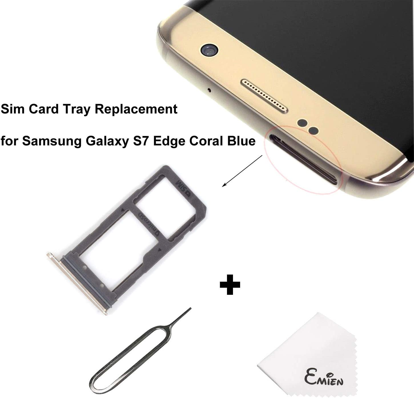 EMiEN Single SIM Card Tray Slot Holder Replacement for Samsung Galaxy S7 Edge G935 + SIM Card Tray Open Eject Pin (Coral Blue)