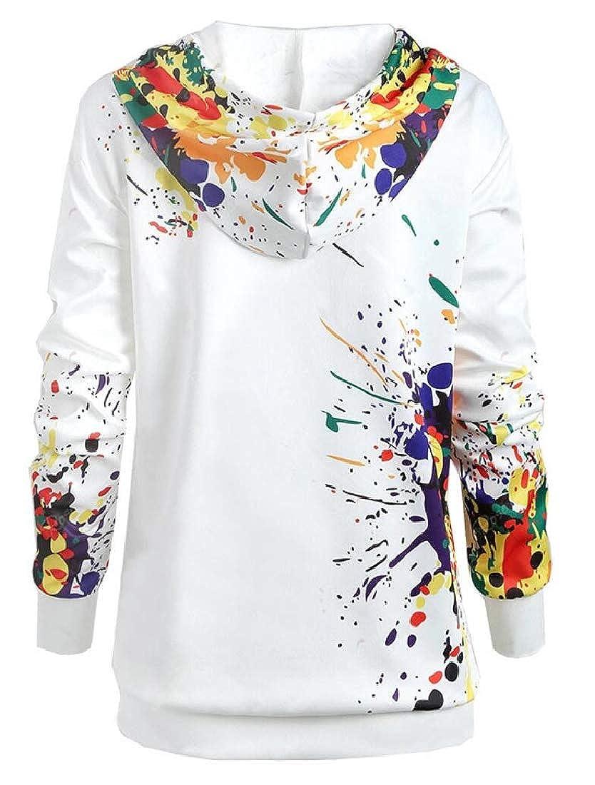 Keaac Womens Casual Ink Print Long Sleeve Hoodies Sweatshrits
