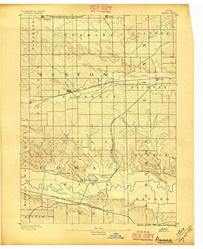 YellowMaps Amana IA topo map, 1:62500 Scale, 15 X 15 Minute, Historical, 1889, Updated 1896, 20.9 x 17 in - Paper (Fairfax Dark Cherry)