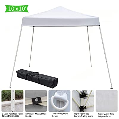 10? x 10' Pop Up Canopy Tent Instant Outdoor Canopy Easy Set-up Straight Leg Folding Shelter Commercial Instant Shelter Straight Leg with Hardware Kits (White): Kitchen & Dining