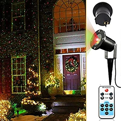 Moving Laser Landscape Projector Light w/ Remote, Laser Beams Illuminate Landscaping Pool Areas Low Voltage Holiday Lighting Decoration Christmas Lights