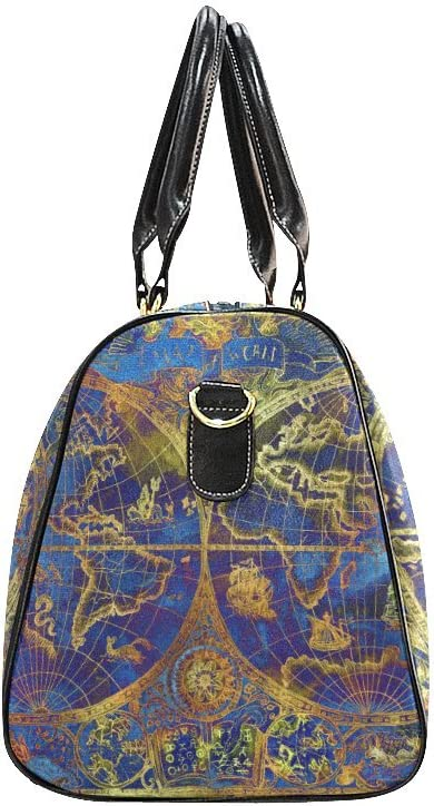 Retro Blue World Map Small Travel Duffel Bag Waterproof Weekend Bag with Strap