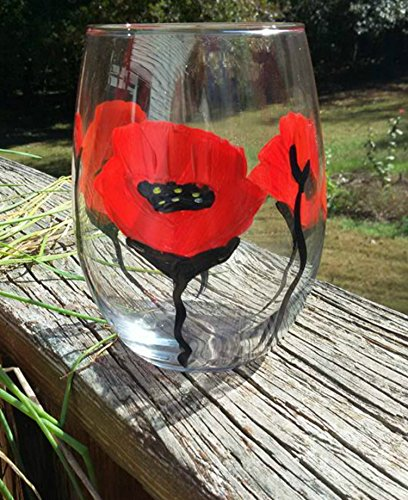 ... Red Poppy Flowers Hand Painted (Set Of 2) Stemless Wine Glasses, Floral  Kitchen