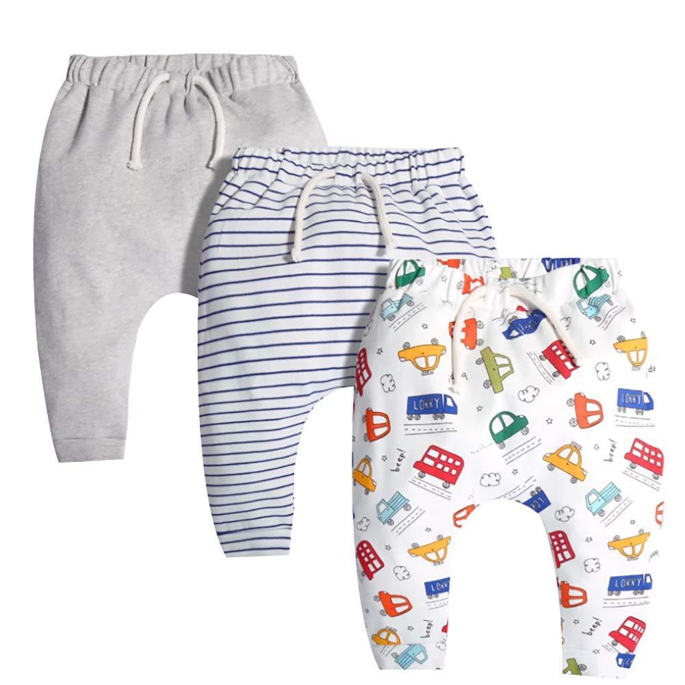Happy childhood Baby Boys Girls 3Pack Spring Autumn Trousers Super Cute Soft Elastic Harem Sweatpants Sports Pants Bottom