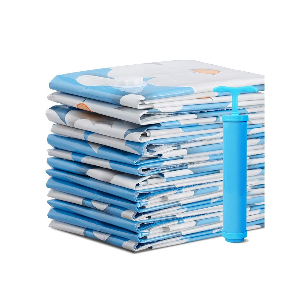 Vacuum compression bags Storage Bag Large Extra Large Quilt Quilt Sorting Bag Clothing Clothes Packing Bag Blue Flower Hand Pump