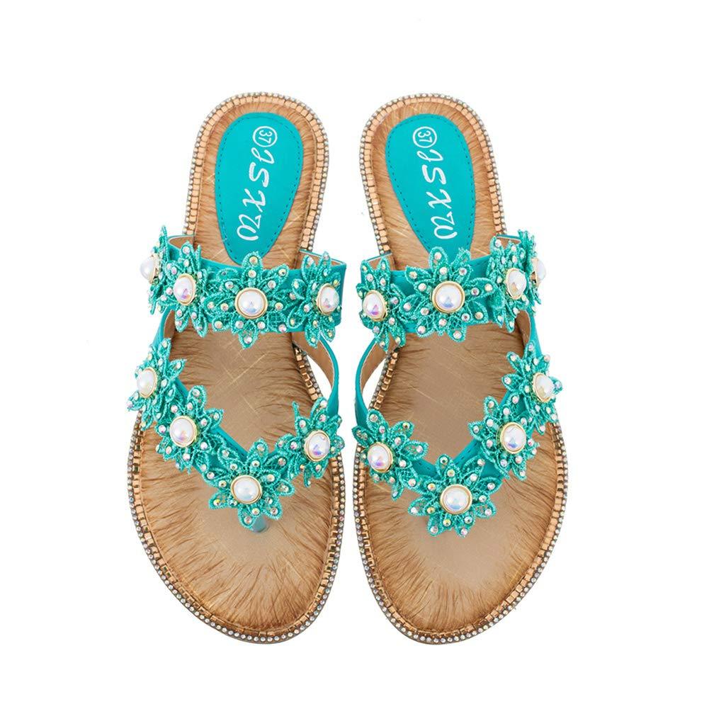 Women's Jeweled Pearl Green Flower Flip Flops Sandals