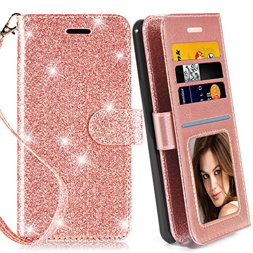 Galaxy Note 5 Case, with Screen Protector, TPU + Leather Bling Glitter Flip Wallet Case with Kickstand Credit Card Holder Slot for Girls/Women for Samsung Galaxy Note 5, Rose Gold