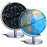 AuAg Geographic Globes Night Lights, 8'' Illuminated World Globe For Kids- 2 in 1 Globe with Plug, World Globe Constellations Globe Built-in LED Bulb Educational Gift Night Stand Decor (9 inch)