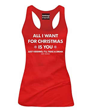 Aesop Originals Women's All I Want For Christmas Is You Just Kidding I'll Take A Drink Tank Top S Red