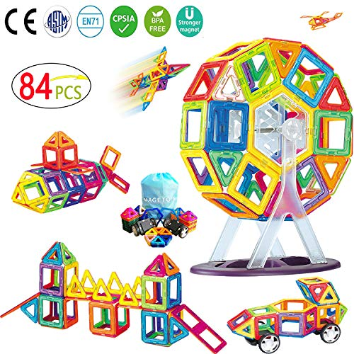MAGETOYS Magnetic Blocks Building Tiles Stacking Blocks Set Best STEM Educational Toys for Kids/Toddlers,Magnetic Building Blocks Set for Boys Girls (84 Piece)