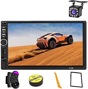 Car Stereo 2 Din,7 inch Touch Screen MP5 /MP4/MP3 Multimedia Player,Bluetooth Audio,Car Stereo Receivers,FM Radio,USB/SD/AUX Input,Mirror Link,Support Steering Wheel Remote Control ,Rear View Camera