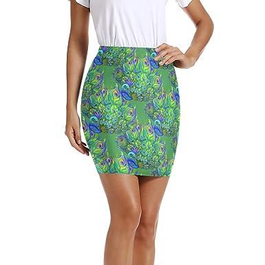 LUPINZ Mini Falda Ajustada elástica para Mujer con diseño de Pavo ...