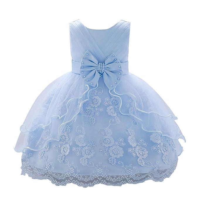 cdd1b0619 YFCH Vestido de Tul Princesa con Lazo para Bebé Niñas Vestido de Encaje  Alínea para Bautizo Boda