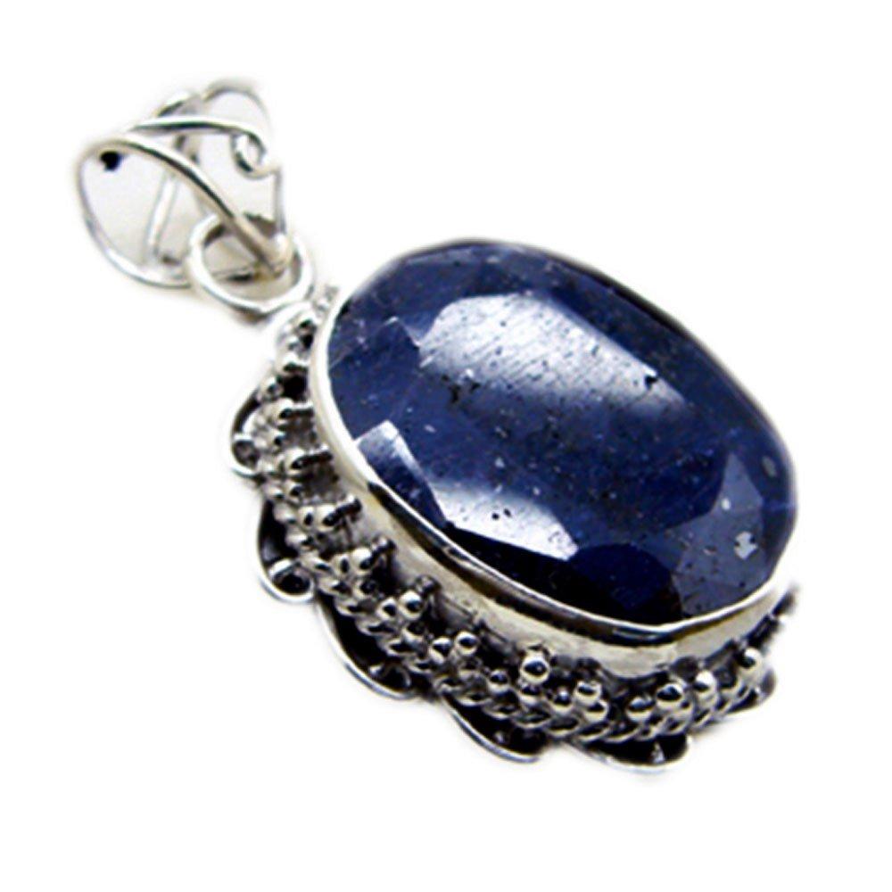 Amazon com: Gemsonclick Genuine Indian Blue Sapphire Pendant For