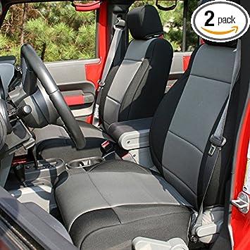 Amazon Com Rugged Ridge 13295 09 Black Gray Seat Cover Kit 2007 2010 Jeep Wrangler Unlimited Jku 4 Door 2 Pack Automotive