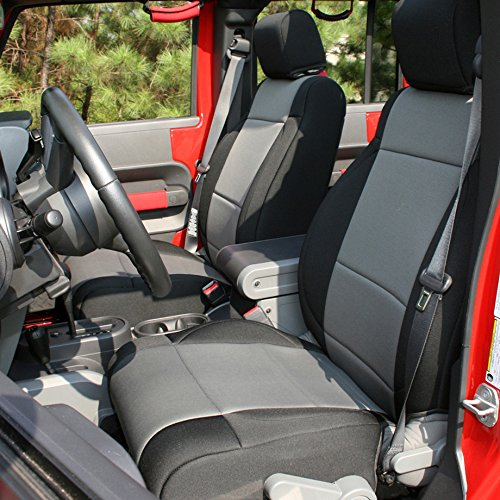 Rugged Ridge 13295.09 Black Seat Cover Kit, Gray; 2007-2010 Jeep Wrangler Unlimited JKU, 4 Door 2 Pack
