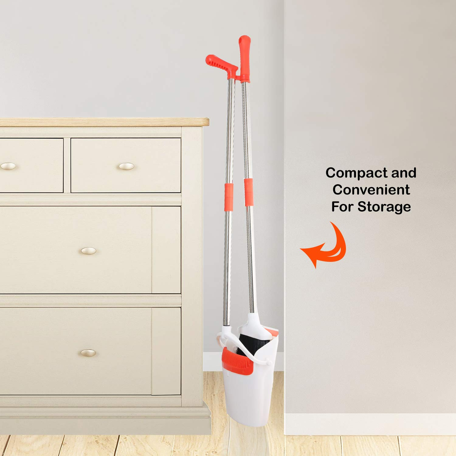 Broom And Dustpan Set - Strongest 30% Heavier Duty - Upright Standing Dust Pan With Extendable Broomstick For Easy Sweeping Easy Assembly Great Use For Home, Office, Kitchen, Lobby Etc. By Kray