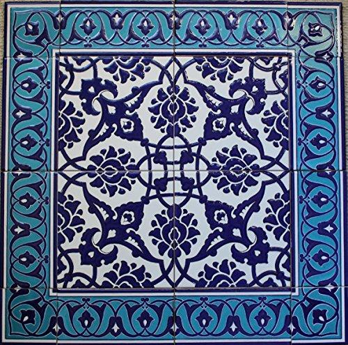 Decor Ceramic Tile (Blue Turkish Iznik Floral Pattern Ceramic Tile Mural Panel 24