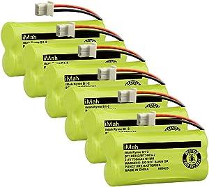 iMah BT166342/BT266342 Cordless Phone Battery Compatible with BT183342/BT283342 Replacement for VTech CS6114 CS6429 CS6719-2 AT&T EL5210 EL51203 BT166342 BT266342 Handset Telephone, 6-Pack