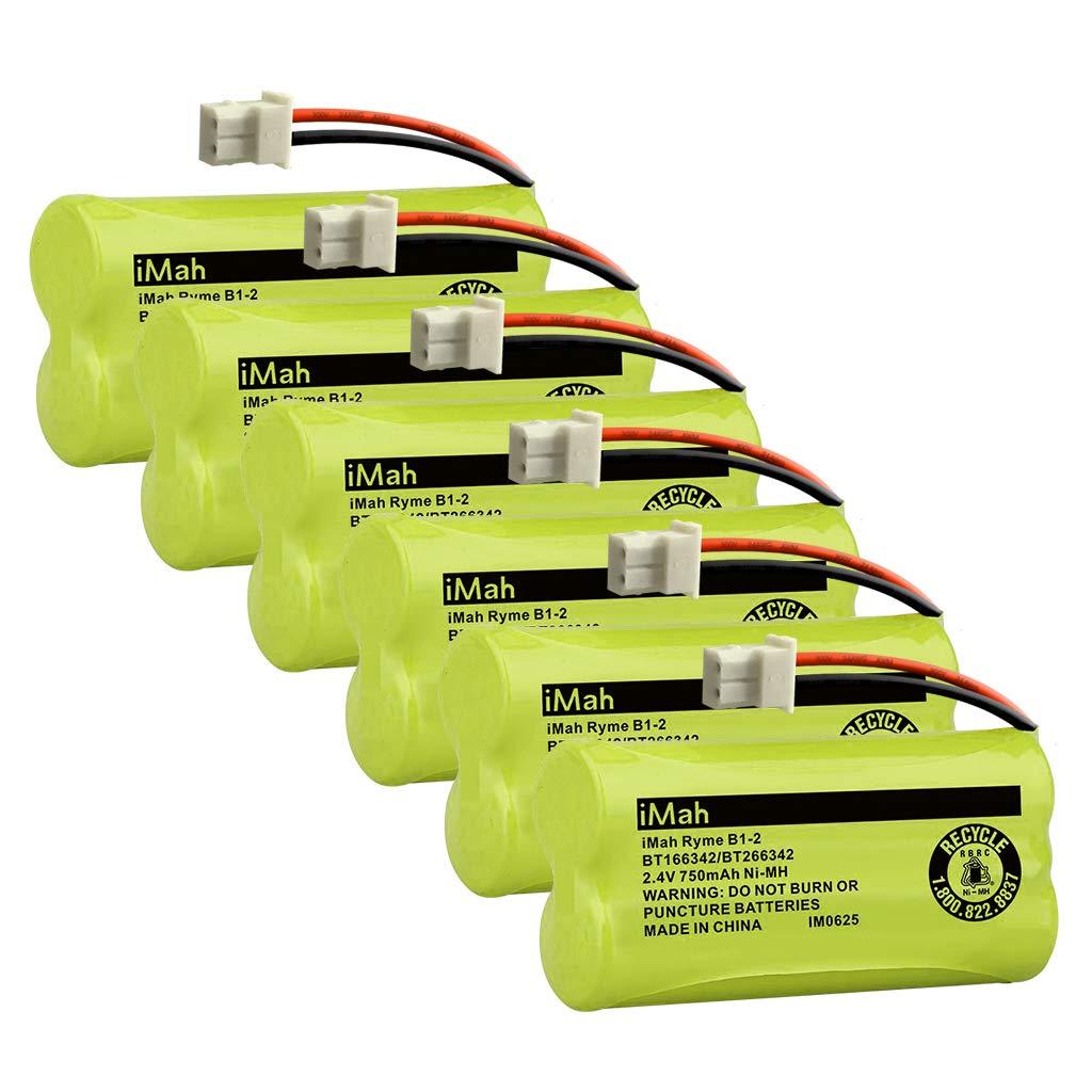 iMah BT166342/BT266342 Cordless Phone Battery Compatible with BT183342/BT283342 Replacement for VTech CS6114 CS6429 CS6719-2 AT&T EL5210 EL51203 BT166342 BT266342 Handset Telephone, 6-Pack by iMah
