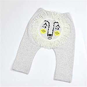 NICOLE DIARY Cute Terry Lion Pants Boys Girls Elastic Waist Spring Autumn Long Pants