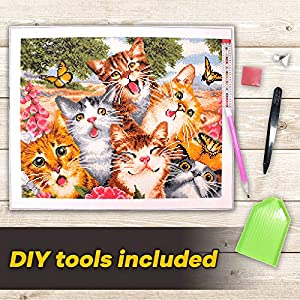 "Large Premium Full Canvas DIY 5D Diamond Painting Kit - 20""X16"" Inches Adorable Cat Design - Relaxing and Fun for Kids and Adults - Tool Kit Includes All Accessories - Home Decor Arts and Crafts"