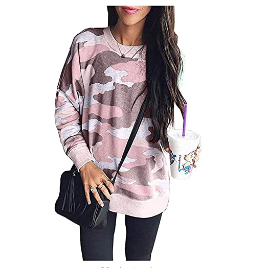 c8115e2b113ac Image Unavailable. Image not available for. Color  Women Camouflage Print  Long Sleeve Crew Neck Loose Fit Casual Sweatshirt Pullover Tops Shirts Plus  Size