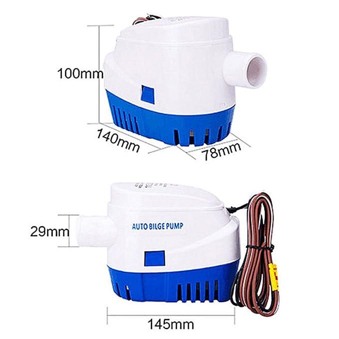 Bomba de agua de sentina NUZAMAS 1100GPH con interruptor automático y sumergible para barcos, caravanas, acampadas, barcos de pesca marítima, ...