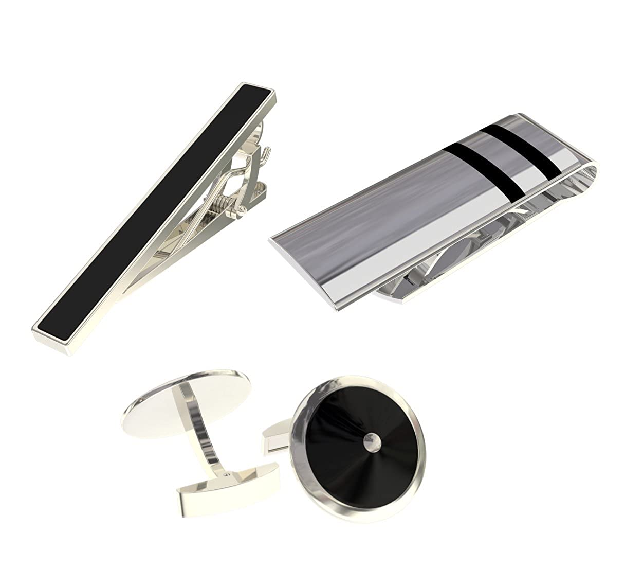 Locke Money Clip & Black Tie Clip & SS Round Cuff Links Slim Great Gift Deluxury Fine Accessories LUXE-MC-509