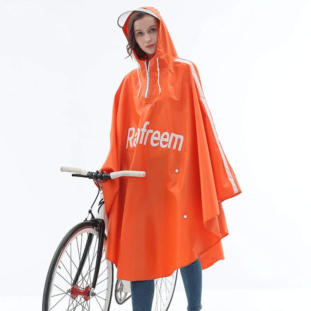 CYT Poncho Bicicletta Singola Moda Aumento Ispessimento Adulto Anti-Tempesta Pioggia Equitazione Studente Impermeabile (Colore : Orange, Dimensioni : XXXL)