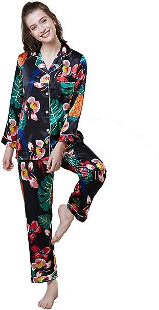 VLUNT Pijamas Mujer de Seda de Imitacion, Sedoso Pijama de Satén Conjunto, Suave Camisón de Raso Manga Larga Tops + Pantalones Largos: Amazon.es: Ropa y accesorios