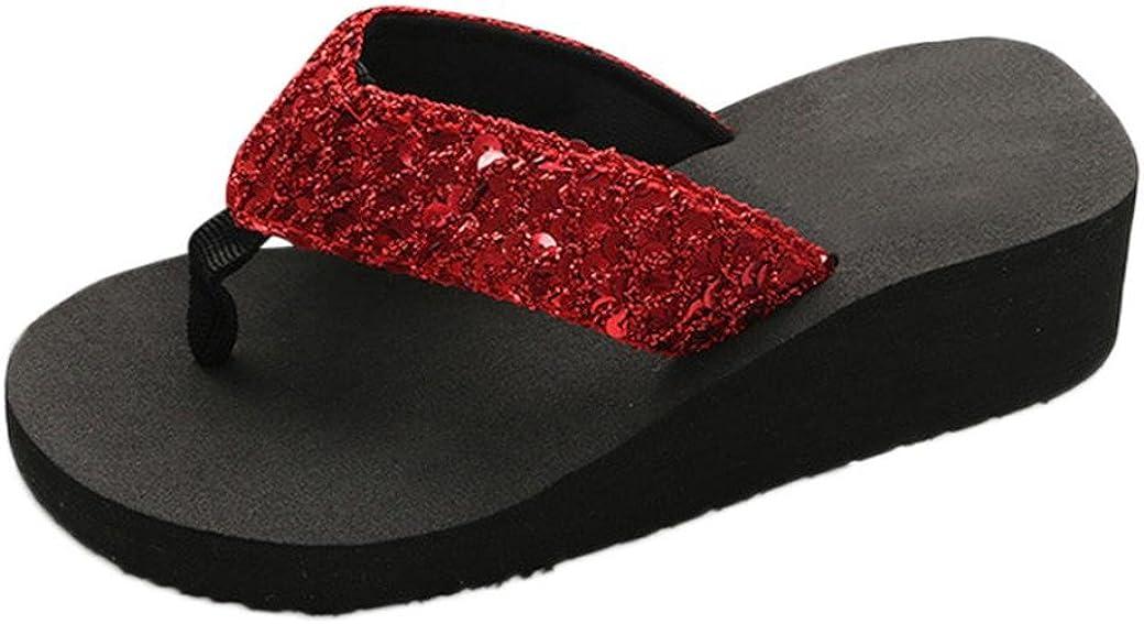 Yesmile Sandalias para Mujer Zapatos Casual de Mujer Sandalias de Verano para Fiesta y Boda Sandalias Antideslizantes de Verano para Mujer Sandalias de Casa Chanclas Interior y Exterior (40, Rojo)