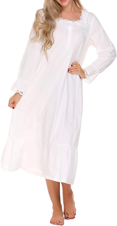 Ekouaer Sleepwear Victorian Nightgown Cotton Sleepshirt Long Sleeve Pajama Dress Vintage Loungewear for Women at  Women's Clothing store