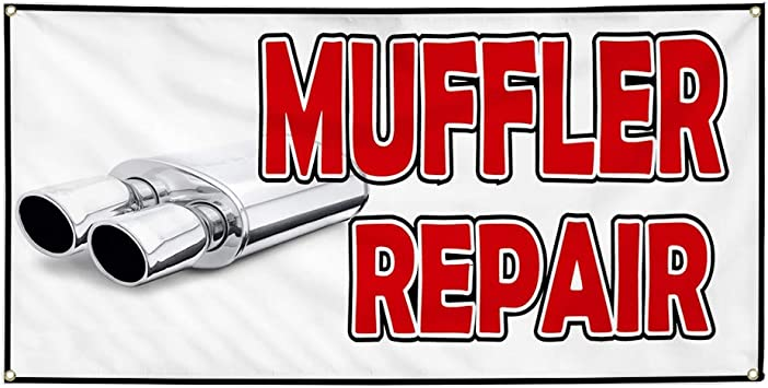 52inx34in Decal Sticker Multiple Sizes Muffler Repair #1 Style C Automotive Muffler Repair Outdoor Store Sign White Set of 2