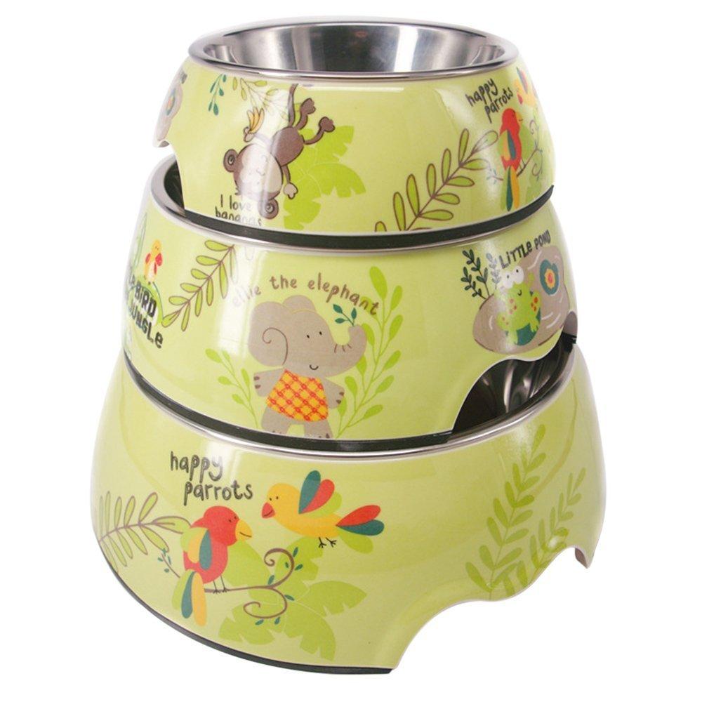 Quno Cute Animal Pattern Melamine Stainless Steel Dog Cat Pet Food Water Bowls Set of 3