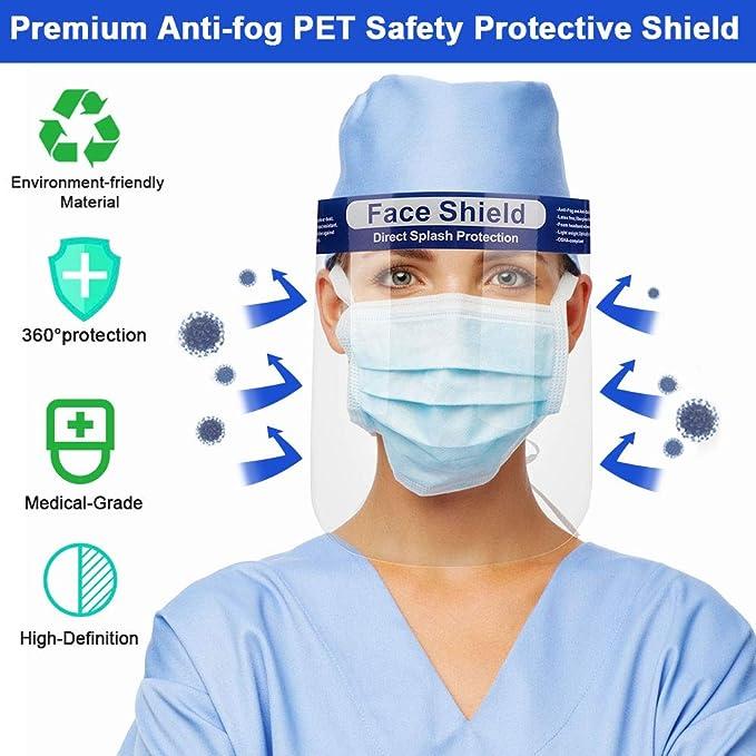 Project Zero Enrolled 4 Piezas Visera Protectora Facial Mejorada Careta Protectora Clara Hombres Mujeres Adolescentes Anti-Saliva