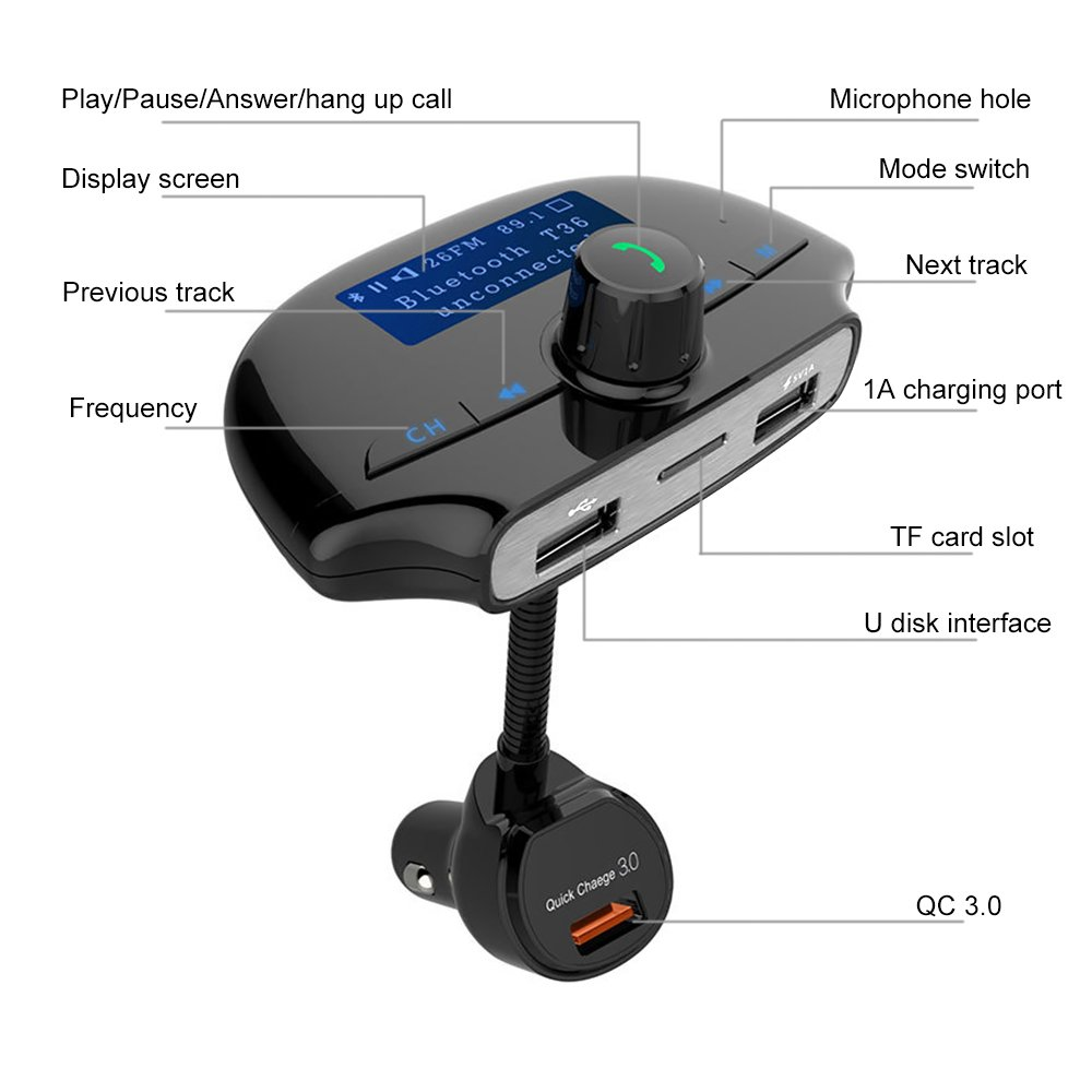 Car Bluetooth FM Transmitter,Bluetooth FM Radio Transmitter In-Car Audio Transmitter Car MP3 Player Wireless Handsfree Car Kit with QC 3A /&Dual 5V 2.1A USB Charger,1.44 Large Screen,TF Card Slot