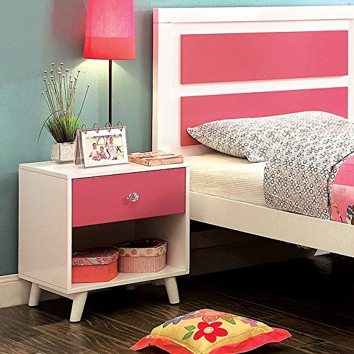 Alivia Pink & White Finish Bedroom Nightstand by 247SHOPATHOME