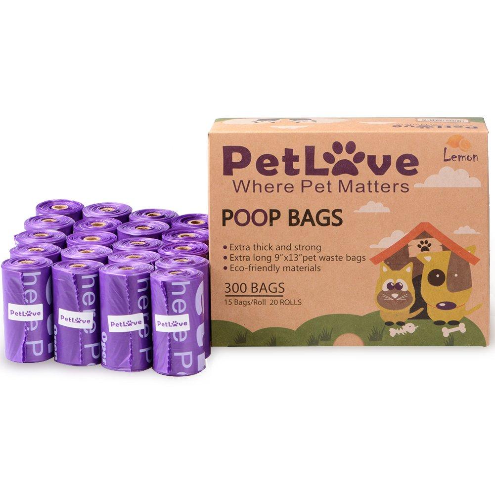 PetLove - Bolsa de residuos para Perros, 300 Unidades, Biodegradable, Resistente al Medio Ambiente, con Aroma de Limó n y Tecnologí a Epi (15 Bolsas/Rollo, 20 Rollos), Color Morado y Amarillo J&D Tech