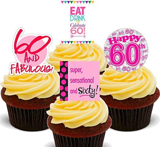 Marvelous Made4You 60Th Birthday Female Funny Edible Cupcake Toppers Funny Birthday Cards Online Hetedamsfinfo