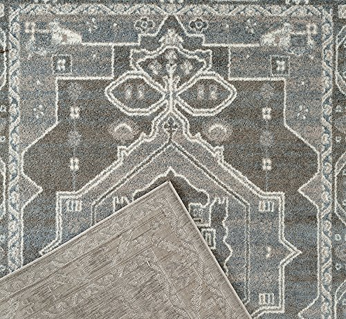 """Adgo Milano Collection Modern Contemporary Ethnic Bohemian Design Jute Backed Area Rugs High Pile Soft and Fluffy Indoor Floor Rug, Silver Grey Blue, 6'6"""" x 9'"""