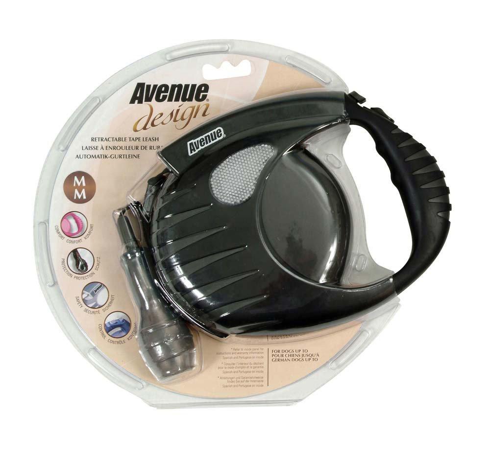 Avenue Design Retractable Tape Leash for Dogs, Black, Medium, 16 Feet