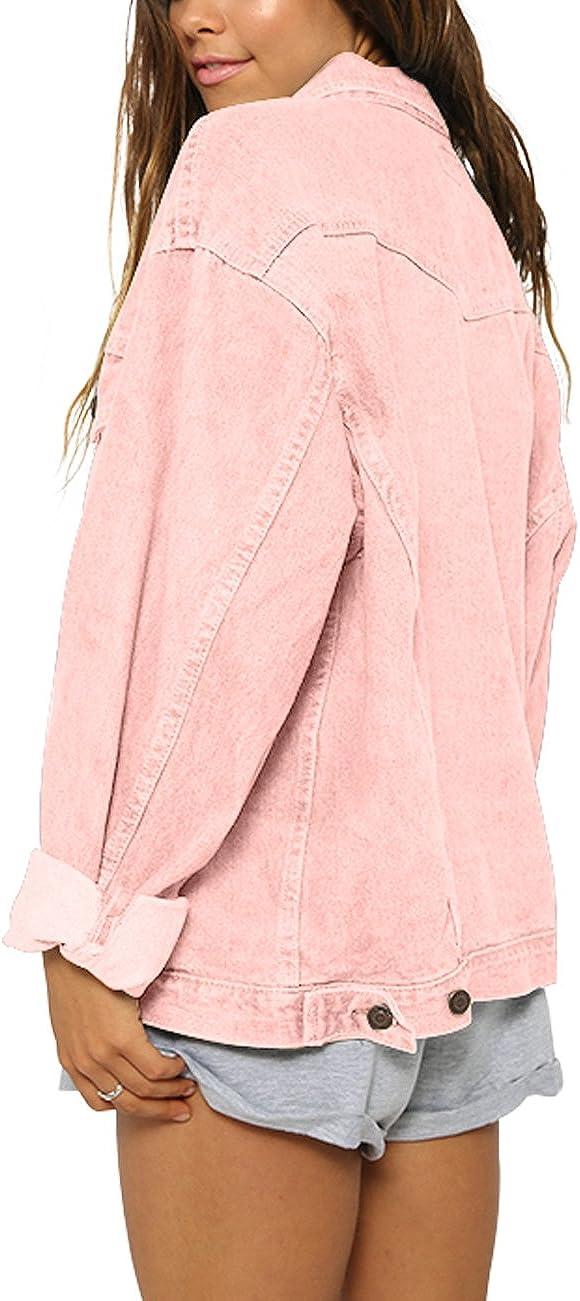 Womens Oversize Vintage Washed Boyfriend Denim Jacket Long Sleeve Classic Loose Jean Trucker Jacket