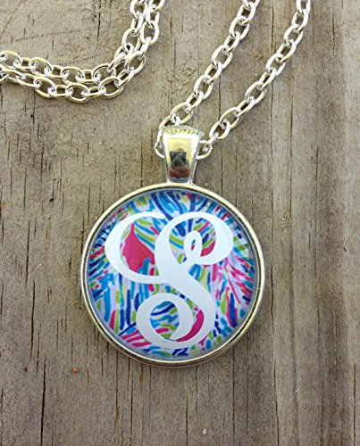 Monogrammed Lilly Pulitzer Inspired Necklace, Personalized Necklace, Lilly Pulitzer Inspired Jewelry, Monogram Necklace, Lilly Necklace