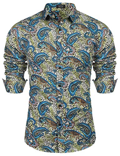 COOFANDY Men's Casual Hawaiian Stylish Paisley Long Sleeve Print Dress Shirt