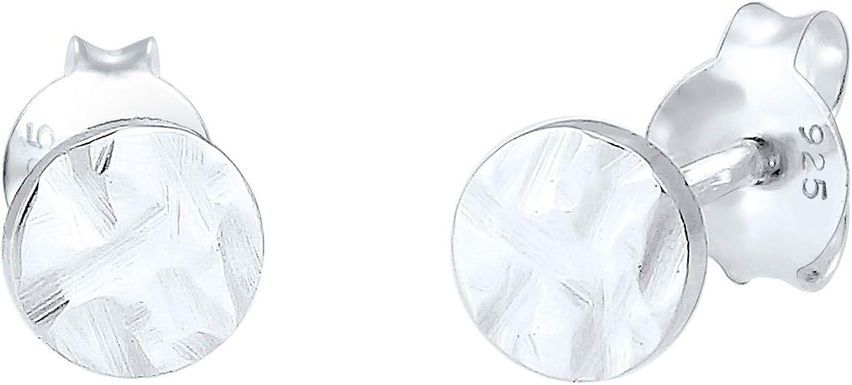 Elli Pendientes de botón redondos de plata pequeños (5 mm) con aretes de mujer de plata de ley 925 martillados en diseño Geo Organic, juego de pendientes para mujer