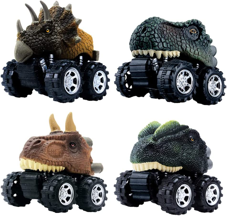 Amazon Com Dinobros Pull Back Dinosaur Car Toys 4 Pack Dino Toys For 3 Year Old Boys And Toddlers T Rex Dinosaur Games Monster Trucks Toys Games